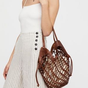 Free People Cut Out Leather Layered Shopping Tote